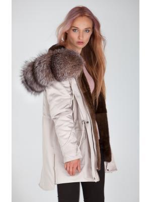 Куртка-парка с мехом чернобурки и норковой подстежкой Lari M24-beige