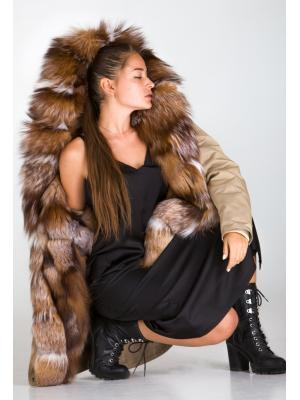 Куртка-парка с мехом чернобурки Lari M25-beige