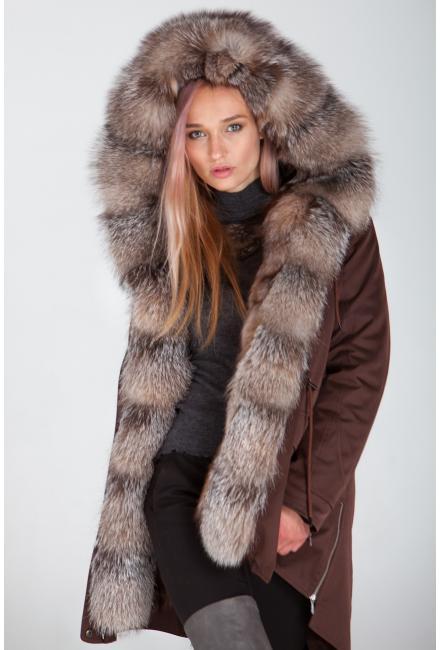 Куртка-парка с мехом лисы Bluefrost Lari M25-chocolate