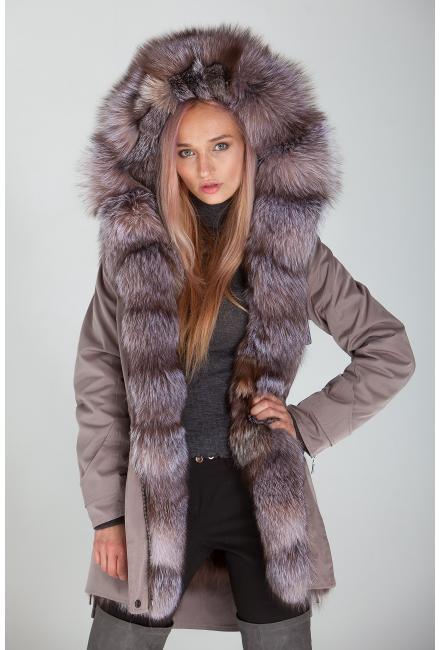 Куртка-парка с мехом лисы Bluefrost Lari M25-grey