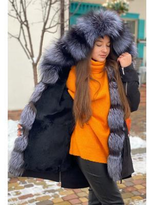 Куртка-парка с мехом чернобурки Lari M25-kr black