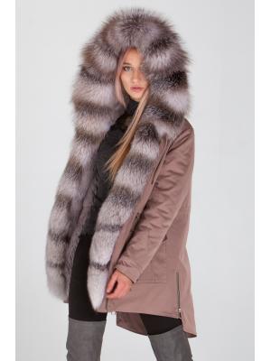 Куртка-парка с мехом лисы Bluefrost Lari M25-kr-cappucino