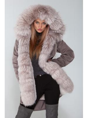 Куртка-парка с мехом енота Lari M25-kr grey