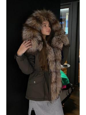 Куртка-парка c мехом выбеленной чернобурки Lari M27-tabacco