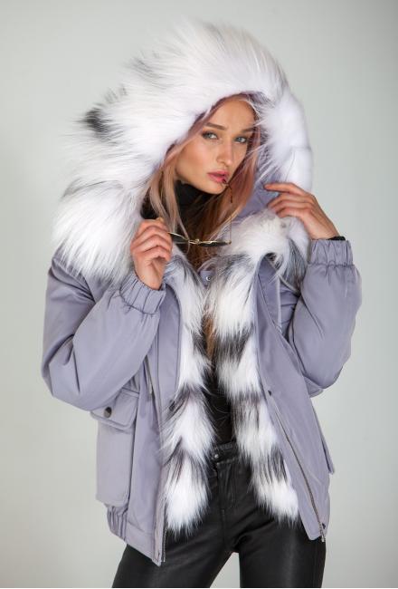 Парка-бомбер c мехом арктической лисы Lari M3- lavender