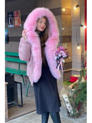 Парка-бомбер c мехом енота Lari M3-pink