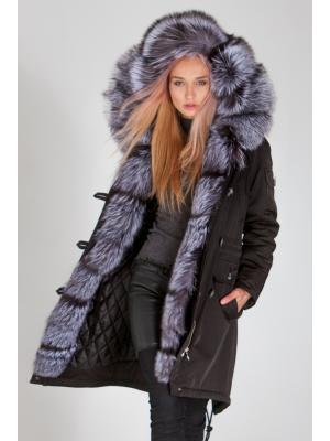 Куртка-парка с мехом чернобурки Lari M5-black