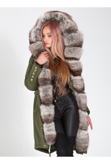 Куртка-парка с мехом песца Lari M5-green