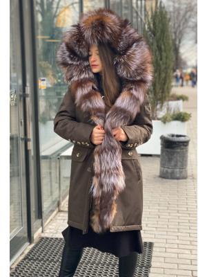 Куртка-парка c мехом выбеленной чернобурки Lari M5-tabacco