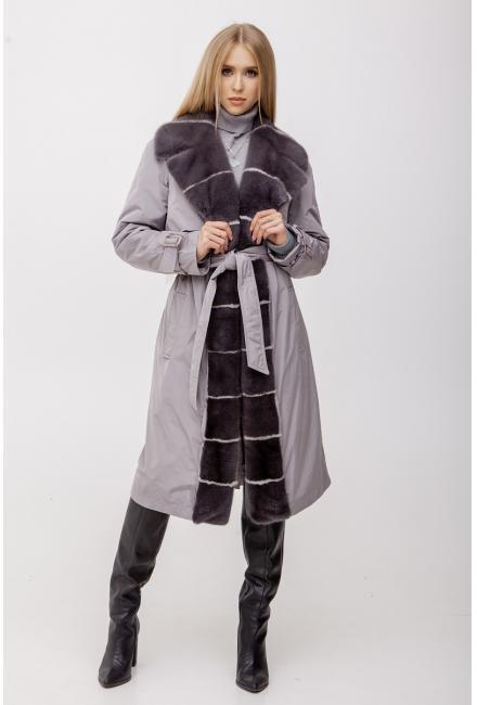 Тренч серый утепленный с мехом норки М-30