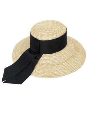 Шляпа из соломы с черными лентами Jolie 0006