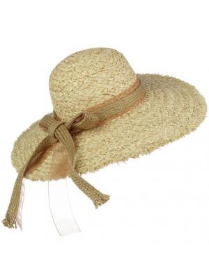 Шляпа с расплетенными краями и лентой из рогожки Jolie 0012