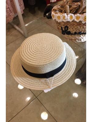 Шляпка-канотье с черной ленточкой Jolie 0022