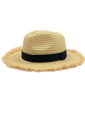 Шляпа с ленточкой и бахромой из соломки по краям Jolie 00262