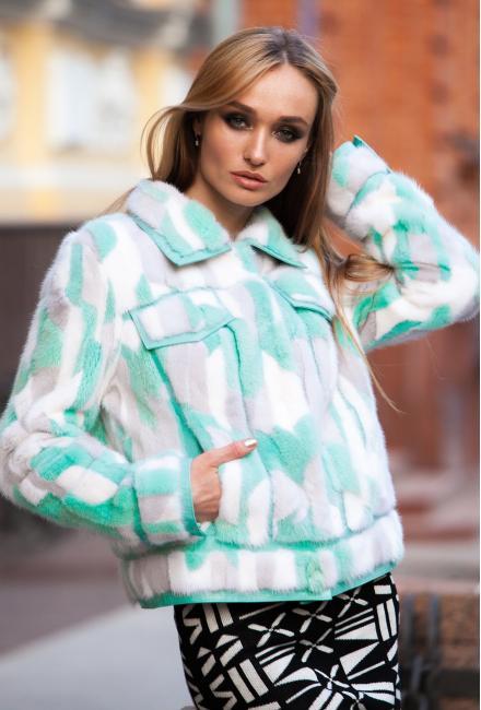 Укороченная норковая шубка-куртка 2315-89 vera pelliccia