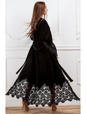Длинный черный домашний халат Suavite  Mariel-h