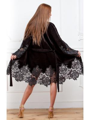 Домашний халат с кружевной отделкой черный Suavite  Mariel-hk
