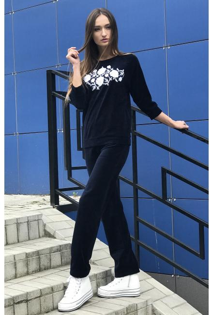 Домашний костюм из темно-синего велюра с вышивкой Suavite 391121