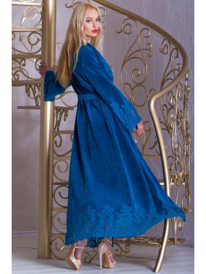 Длинный бирюзовый домашний халат Suavite  Mariel-hb