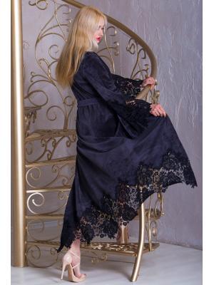 Длинный серый домашний халат Suavite  Mariel-grey-hd
