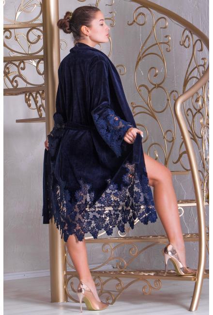 Домашний халат с кружевной отделкой темно-синий Suavite Mariel-hkbs