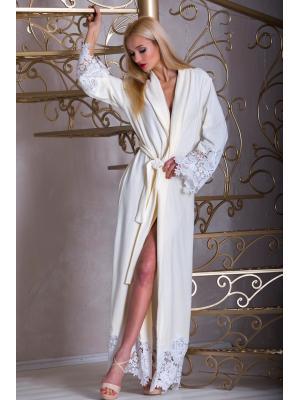 Длинный молочный домашний халат с рельефным кружевом Suavite  Mariel-hmd