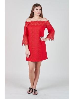 Пляжное красное платье-туника с широким кружевом Suavite 10117r