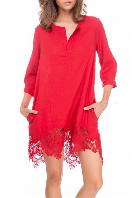Пляжное красное платье-туника Suavite 10222