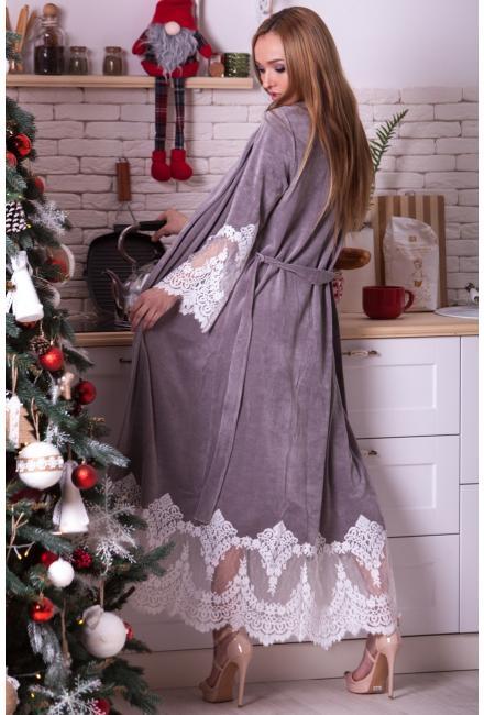Длинный серый домашний халат Suavite Mariel-hg