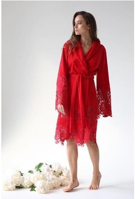 Домашний красный халат Suavite Mariel-red-hkr