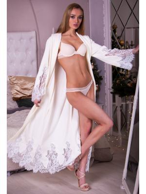 Длинный молочный домашний халат с тонким гипюром Suavite Mariel-hm