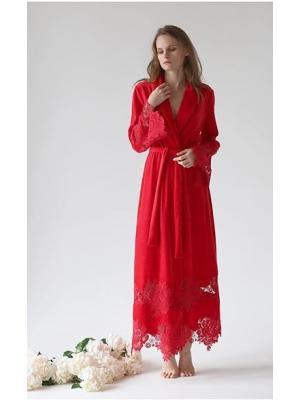 Длинный красный домашний халат Suavite  Mariel-red-hd