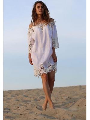 Пляжное платье-туника с широким кружевом Suavite 10119