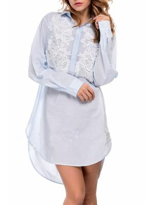 Хлопковая туника-рубашка с гипюром Suavite 133312