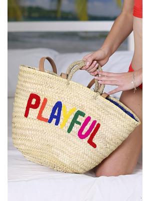 Пляжная соломенная сумка с кожаными ручками Jolie 114