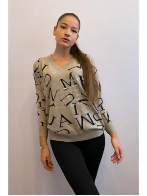 Свитер (пуловер) с буквами Jolie 2050-s