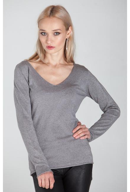 Свитер (пуловер) серый с люрексом HW22849-c