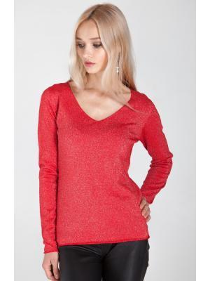 Свитер (пуловер) красный с люрексом HW22849-k