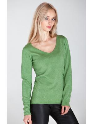 Свитер (пуловер) зеленый с люрексом HW22849-z