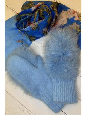 Зимние варежки с натуральным мехом J9318-blue