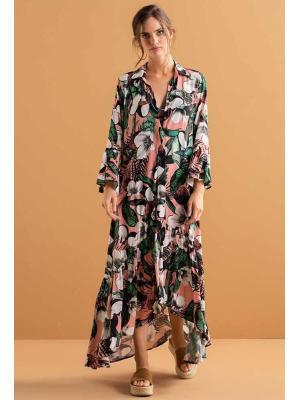 Платье-рубашка в цветочный принт, длинное  Touche OA200-93
